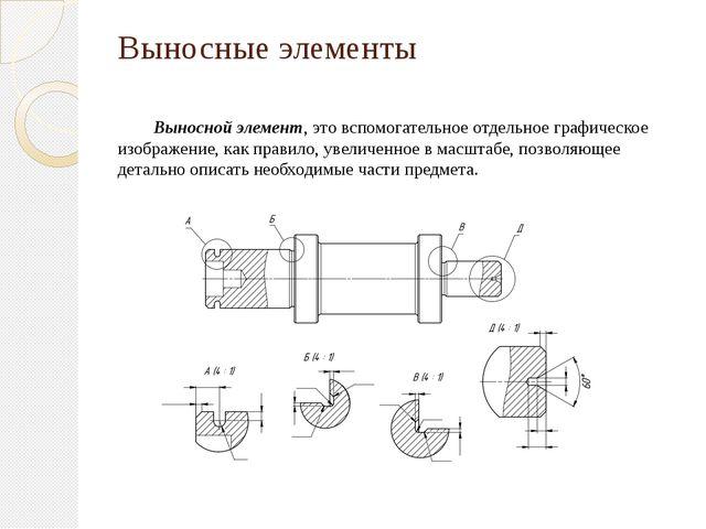 Выносные элементы Выносной элемент, это вспомогательное отдельное графическое...