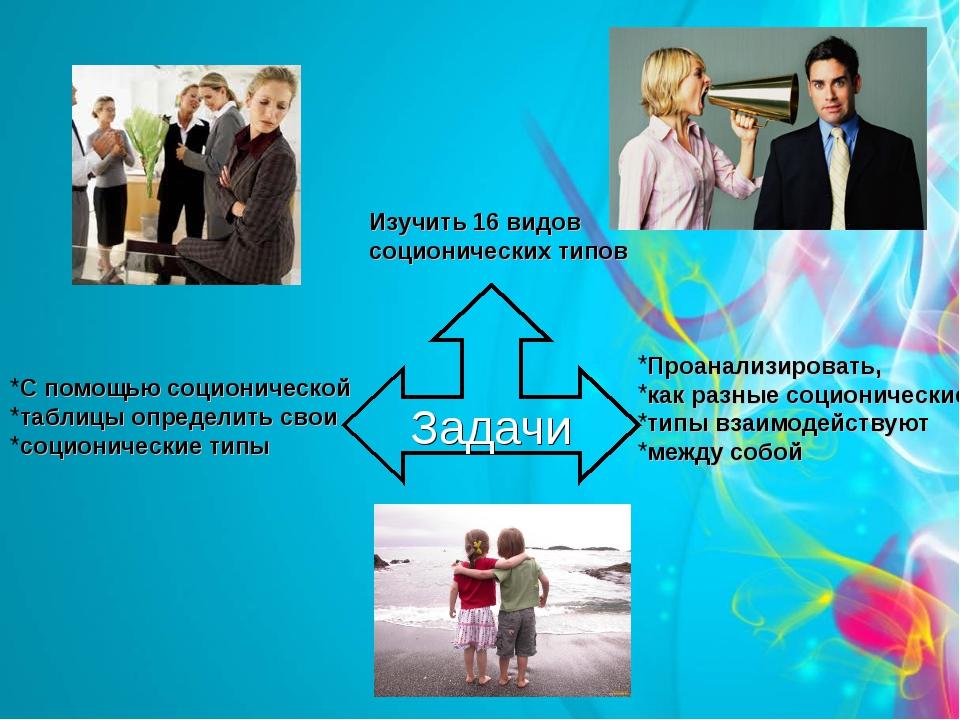 Задачи Изучить 16 видов соционических типов Проанализировать, как разные соци...