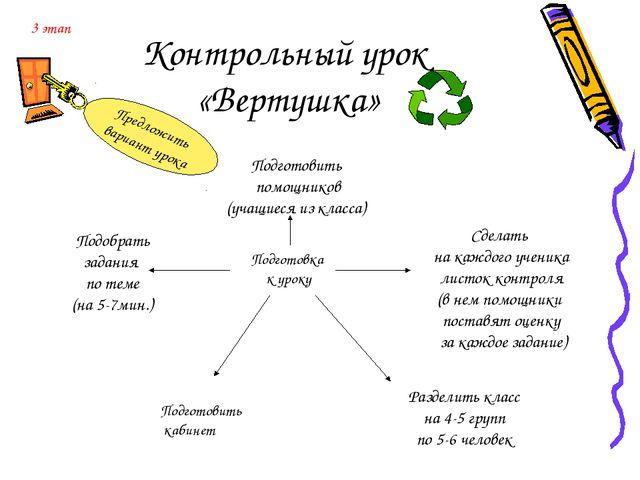 Контрольный урок «Вертушка» Подготовка к уроку Подобрать задания по теме (на...