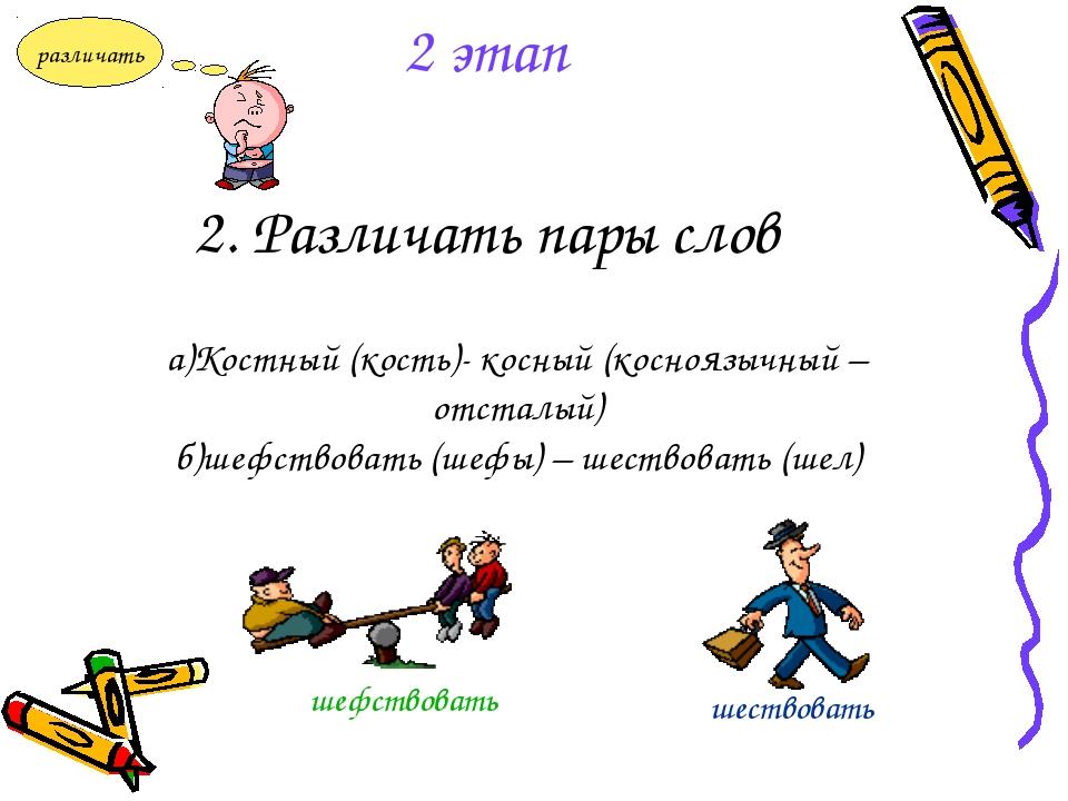 2. Различать пары слов а)Костный (кость)- косный (косноязычный – отсталый) б)...