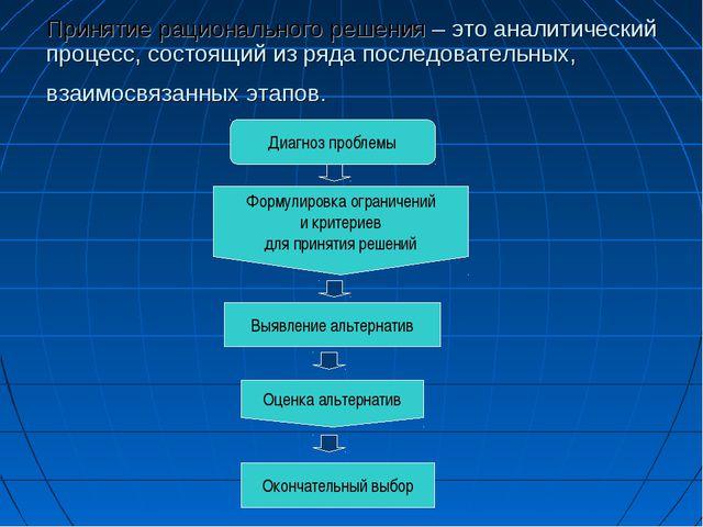 Принятие рационального решения – это аналитический процесс, состоящий из ряда...