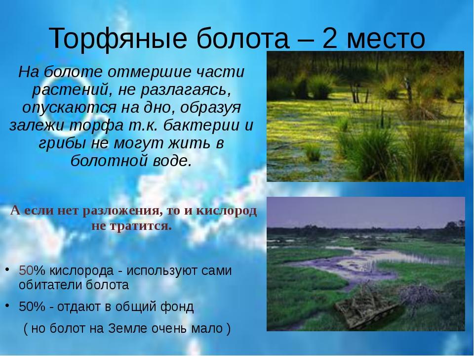 Торфяные болота – 2 место На болоте отмершие части растений, не разлагаясь, о...