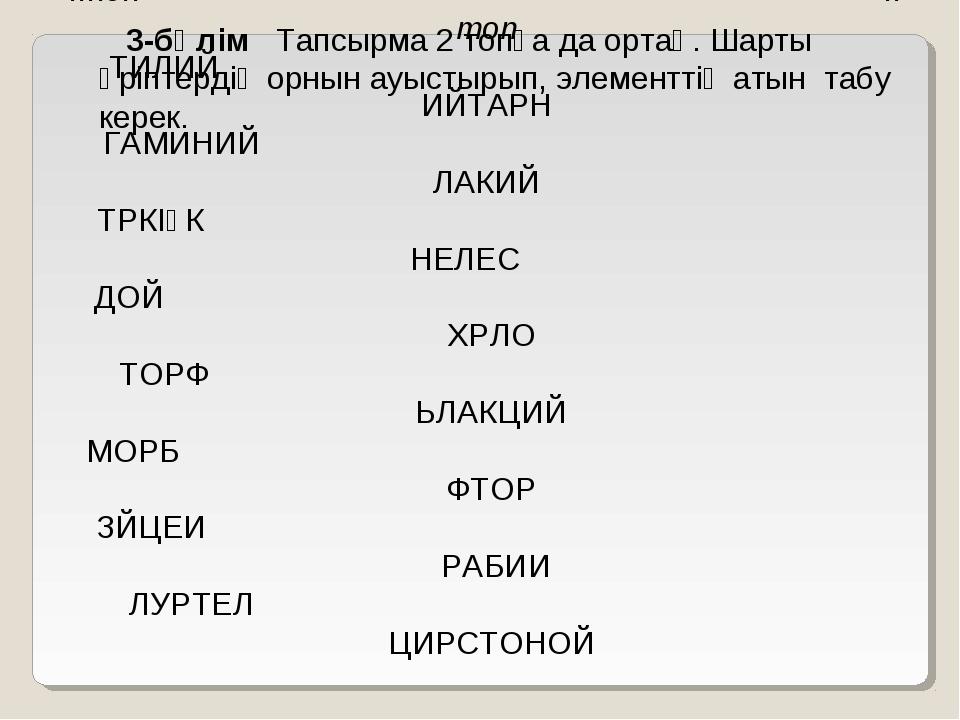 3-бөлім Тапсырма 2 топқа да ортақ. Шарты әріптердің орнын ауыстырып, элемент...