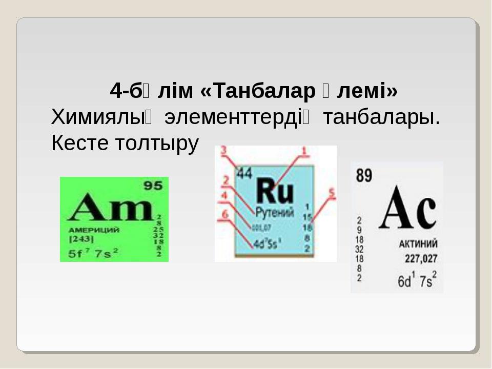 4-бөлім «Танбалар әлемі» Химиялық элементтердің танбалары. Кесте толтыру