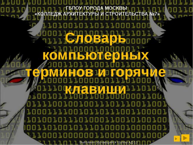 Словарь компьютерных терминов и горячие клавиши Выполнил обучающийся группы А...