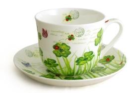 Чашка с блюдцем Клевер Чашка - 0,4 л (в кор. - 6 шт. Подарочная упаковка R2S (Китай) - купить в Москве, в интернет-магазине с бе