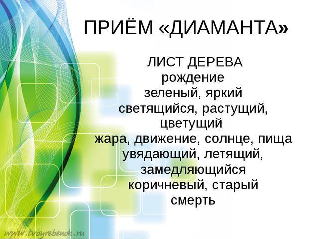 ПРИЁМ «ДИАМАНТА» ЛИСТ ДЕРЕВА рождение зеленый, яркий светящийся, растущий, цв...