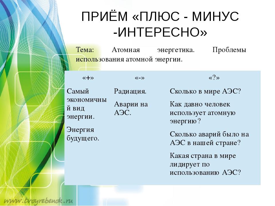 ПРИЁМ «ПЛЮС - МИНУС -ИНТЕРЕСНО» Тема: Атомная энергетика. Проблемы использов...