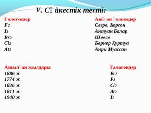 V. Сәйкестік тесті: ГалогендерАшқан ғалымдар F2Сегре, Коргон I2