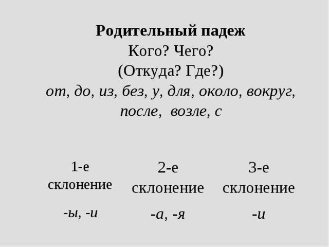 Родительный падеж Кого? Чего? (Откуда? Где?) от, до, из, без, у, для, около,...
