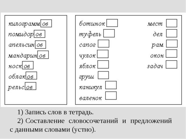 1) Запись слов в тетрадь. 2) Составление словосочетаний и предложений с данны...