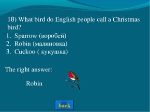 The right answer: 18) What bird do English people call a Christmas bird? Spar
