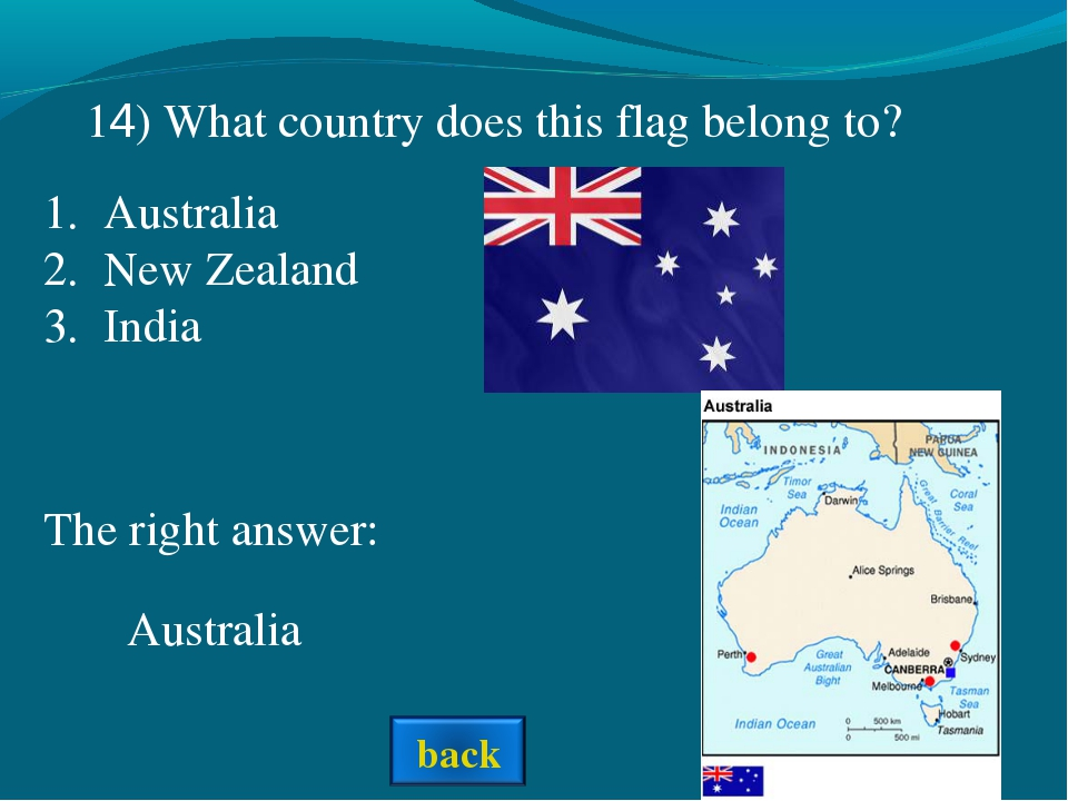 The right answer: Australia Australia New Zealand India 14) What country does...