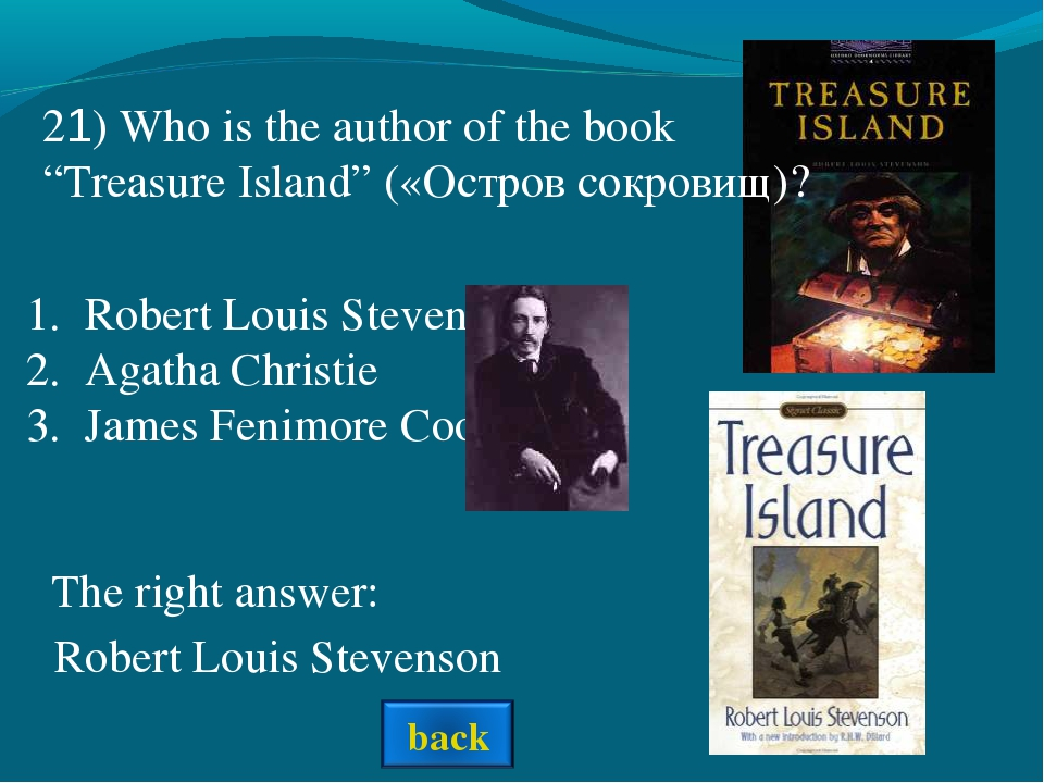 Robert Louis Stevenson Agatha Christie James Fenimore Cooper The right answer...
