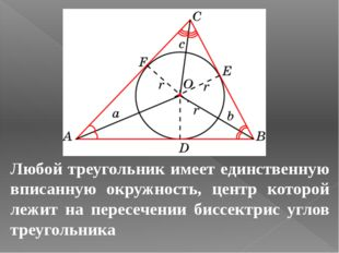 Любой треугольник имеет единственную вписанную окружность, центр которой лежи