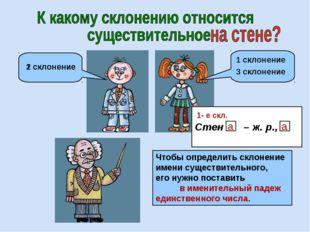 3 склонение 2 склонение 1 склонение Чтобы определить склонение имени существи