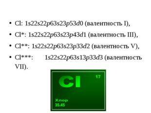 Cl: 1s22s22p63s23p53d0(валентность I), Cl*: 1s22s22p63s23p43d1(валентность