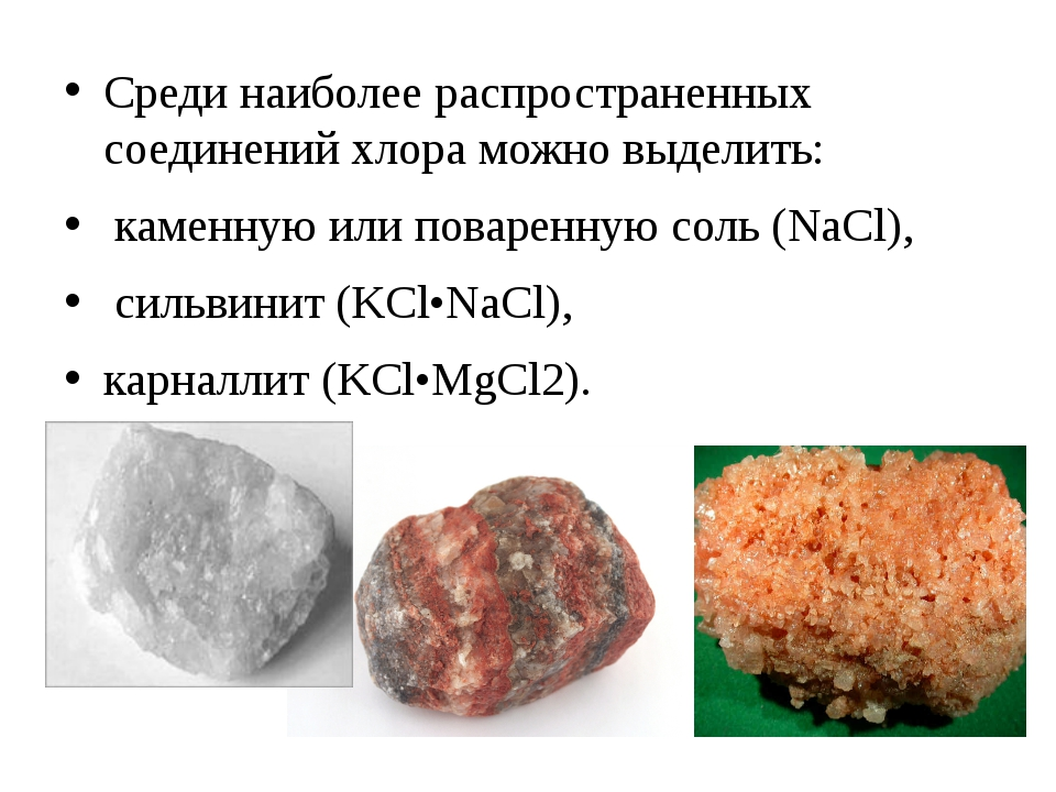 Среди наиболее распространенных соединений хлора можно выделить: каменную или...