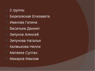 2 группа: Березовская Елизавета Иванова Галина Васильев Даниил Зипунов Алексе
