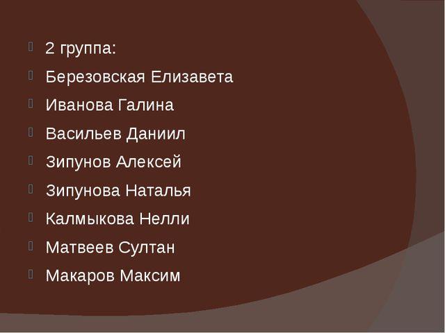 2 группа: Березовская Елизавета Иванова Галина Васильев Даниил Зипунов Алексе...