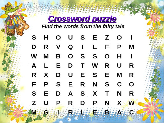 Сrossword puzzle Find the words from the fairy tale