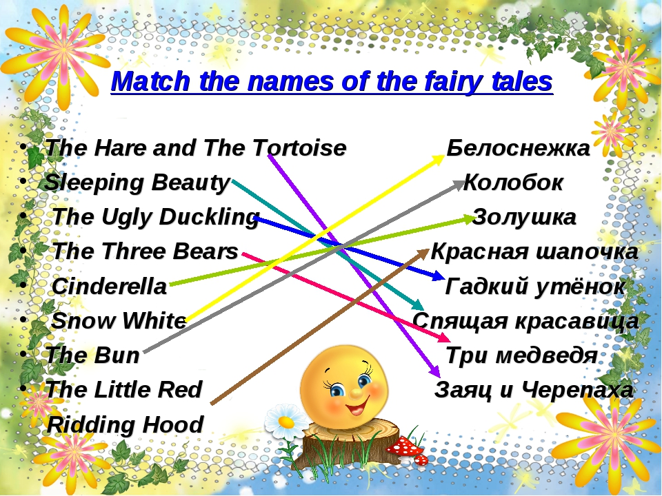 Match the names of the fairy tales The Hare and The Tortoise Белоснежка Sleep...