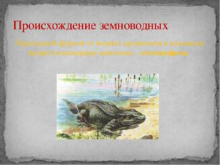 Переходной формой от водных организмов к наземным являются вымершие животные