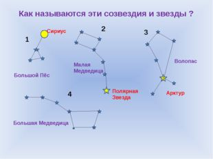 Как называются эти созвездия и звезды ? 1 2 3 4 Большой Пёс Сириус Малая Медв