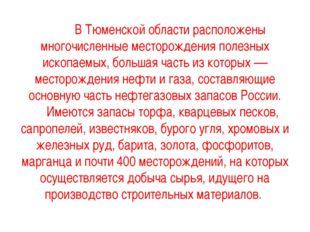 В Тюменской области расположены многочисленные месторождения полезных ископа