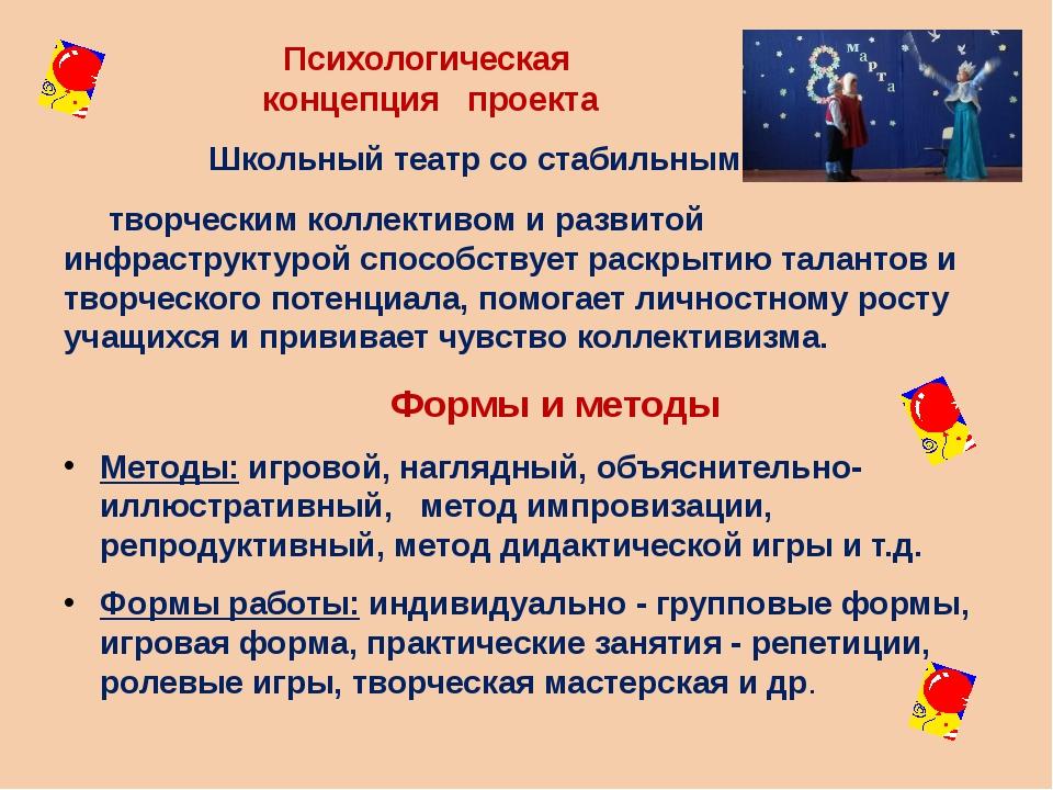 Психологическая концепция проекта Школьный театр со стабильным творческим кол...