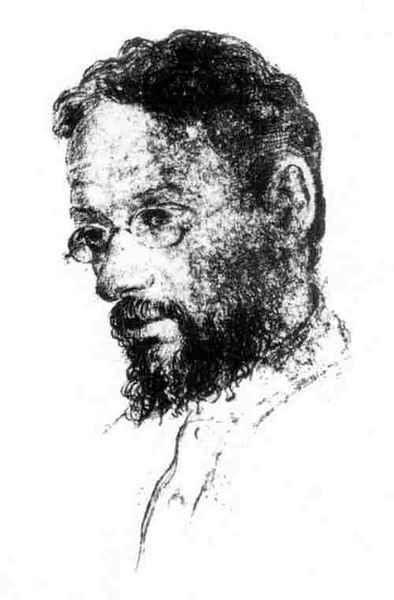 Священник Павел Флоренский в Соловецком лагере. Рисунок неизвестного художника