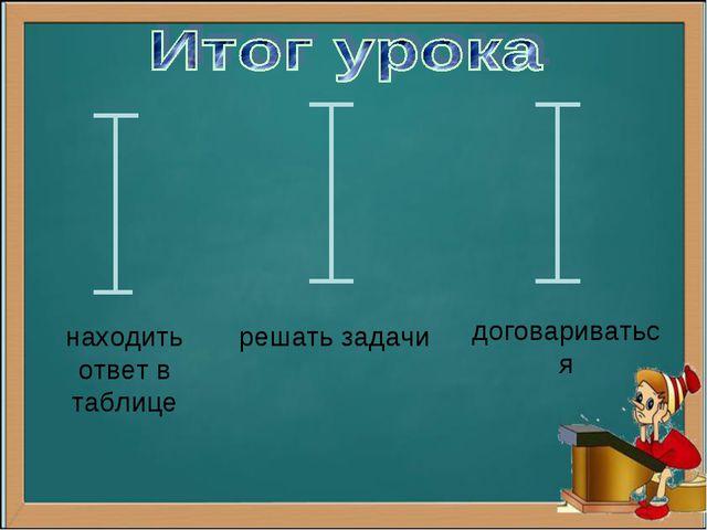 находить ответ в таблице решать задачи договариваться