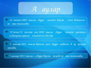 Ақаулар 16 тамыз2007 жылы Skype қызметі барлық әлем бойынша жұмыс жасамады