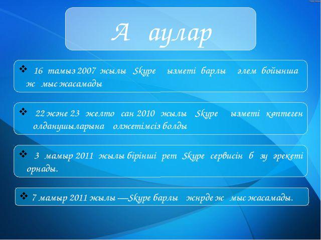 Ақаулар 16 тамыз2007 жылы Skype қызметі барлық әлем бойынша жұмыс жасамады...