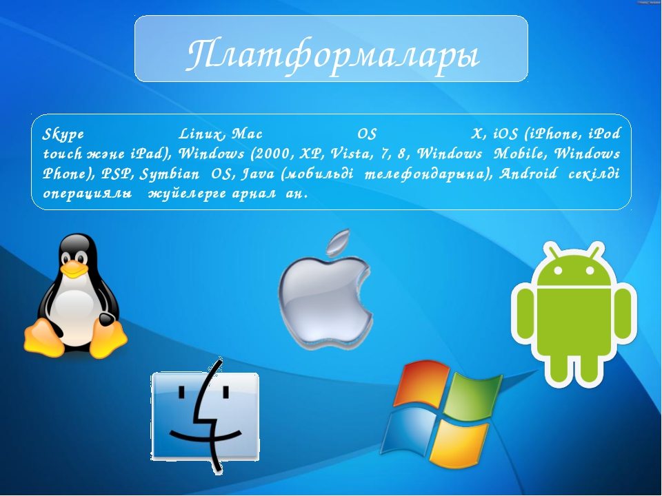 Платформалары Skype Linux, Mac OS X, iOS (iPhone, iPod touch және iPad), Wind...
