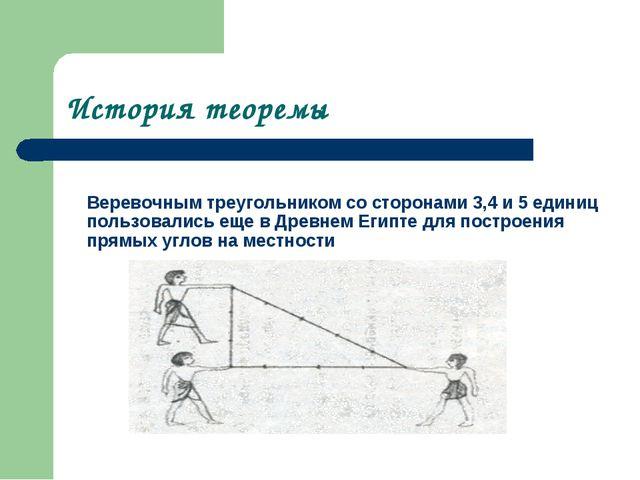 История теоремы Веревочным треугольником со сторонами 3,4 и 5 единиц пользов...