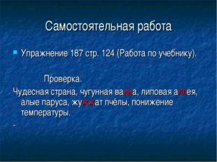Самостоятельная работа Упражнение 187 стр. 124 (Работа по учебнику). Проверка