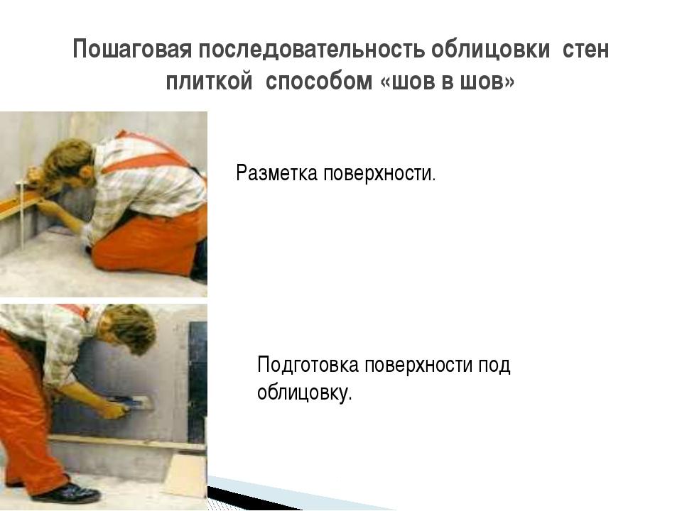 Пошаговая последовательность облицовки стен плиткой способом «шов в шов» Разм...