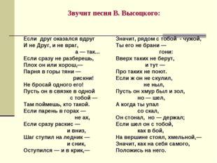 Звучит песня В. Высоцкого: Если друг оказался вдруг И не Друг, и не враг, а —