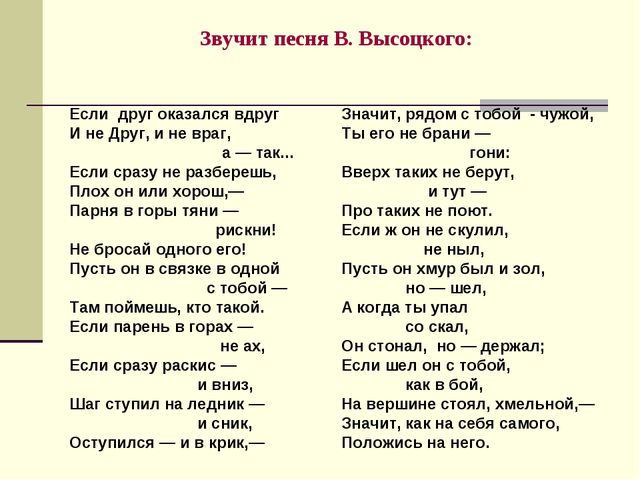 Звучит песня В. Высоцкого: Если друг оказался вдруг И не Друг, и не враг, а —...
