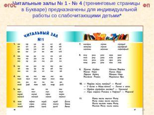 Читальные залы № 1 - № 4 (тренинговые страницы в Букваре) предназначены для и