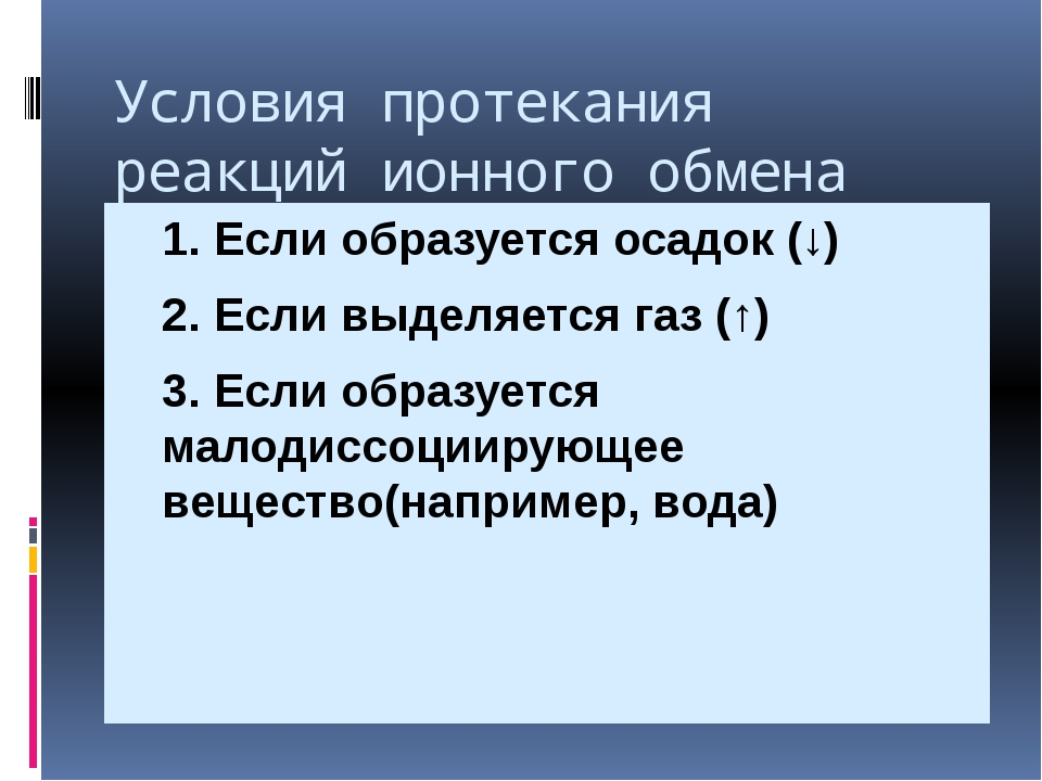 Условия протекания реакций ионного обмена 1. Если образуется осадок (↓) 2....