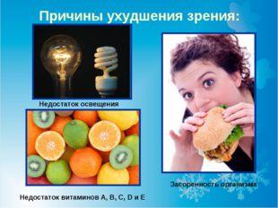Причины ухудшения зрения: Недостаток витаминов А, В, C, D и Е Недостаток осве