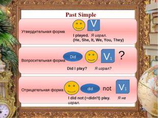 Past Simple Утвердительная форма Вопросительная форма Отрицательная форма V2