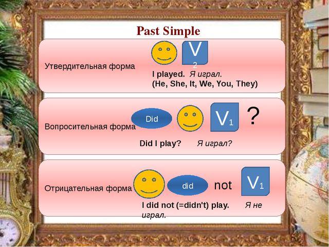 Past Simple Утвердительная форма Вопросительная форма Отрицательная форма V2...