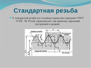 Стандартная резьба У стандартной резьбы все основные параметры определяет ГОС
