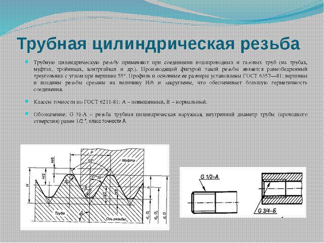 Трубная цилиндрическая резьба Трубную цилиндрическую резьбу применяют при сое...