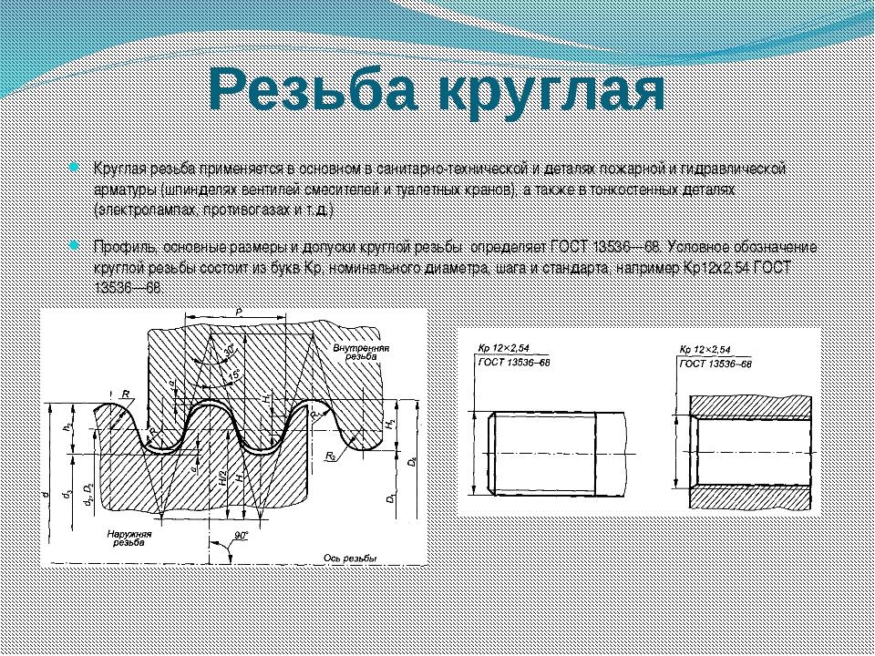 Резьба круглая Круглая резьба применяется в основном в санитарно-технической...