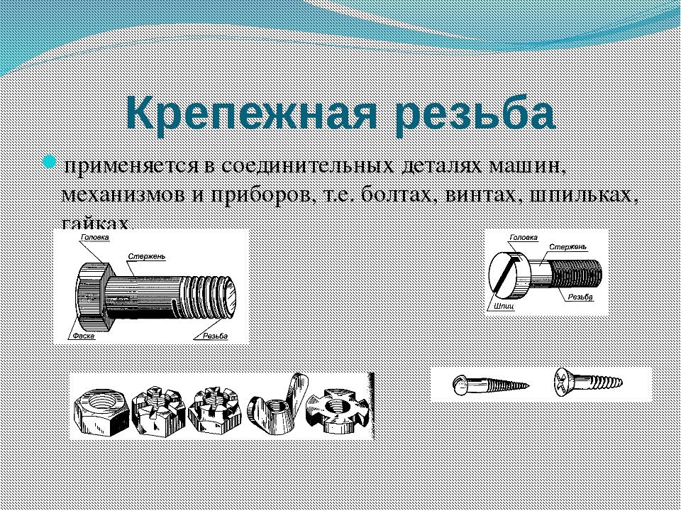 Крепежная резьба применяется в соединительных деталях машин, механизмов и при...