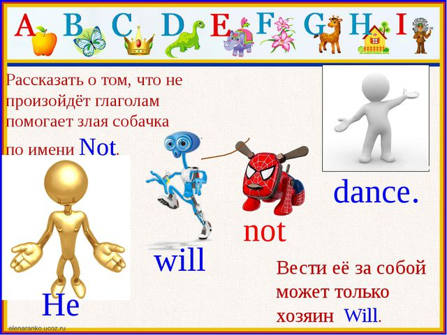 He will not dance. Рассказать о том, что не произойдёт глаголам помогает зла...